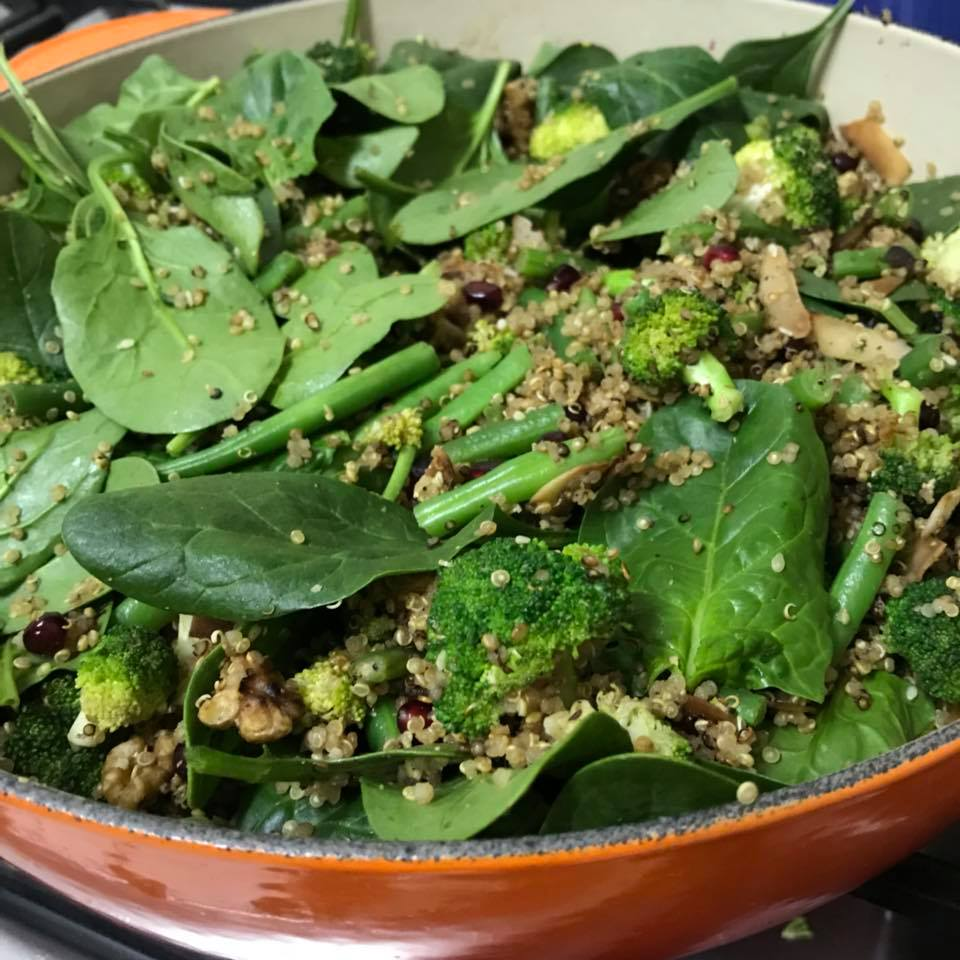 Warm Broccoli, Walnut and Quinoa Salad